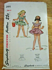 Vintage Simplicity Sewing Pattern 2491 Girl's Playsuit Sz 4, Copyright 1948