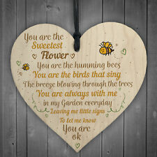 Mum Nan Dad Family Guardian Wood Heart Sign Memorial Gift Angel for Grave Plaque