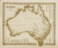 "Vintage Old Map of Australia 1800's CANVAS PRINT 16""X12"""