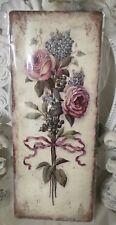 Blechschild Wandbild  Roses Vintage  Shabby Landhaus 20x50cm