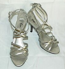 Fioni Night Strappy Sandals Silver Evening Shoes Heels Vegan size 6
