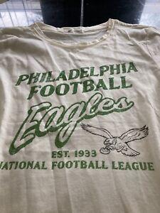 WOMENS 47 BRAND NFL PHILADELPHIA EAGLES RETRO SHORT SLEEVE SHIRT S CREAM NWT