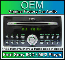 Ford Focus Sony 6 CD MP3 changer, Ford car stereo, AUX Compatible + Code & Keys