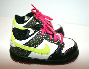Baby Girls NIKE Lil Dunk Athletic Shoes Green Pink Low Top  7C 7  311533-174