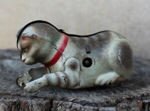 ancien petit chat jouet mécanique en tôle ( made in u.s - zone germany )