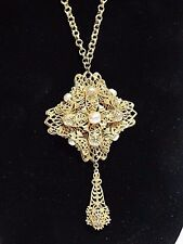 """Vintage Miriam Haskell Necklace Gold tone Chain Pearls Pendant Signed 18.5"""""""