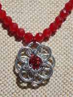 Hand-Made Chain Maille Pendant on Faceted Red Jade Beaded Necklace