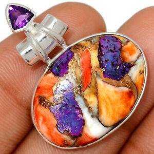 New Oyster Purple Turquoise & Amethyst 925 Silver Pendant Jewelry BP79727