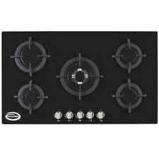Bautechnic AGCG9052BK Gas-on-Glass Hob   90cm, Black, Cast-Iron Pan Supports