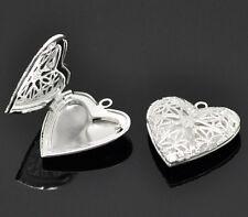 10 Versilbert Herz Foto Medaillon Fassung Anhänger 26x26mm KUS