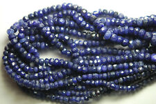 "Natural Blue Sapphire Faceted Rondelle Gemstone Loose Beads Strand 13"" 3.5mm 4mm"
