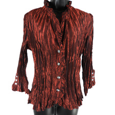 PIANO Burgundy & Rhinestone Button 3/4 Sleeve Top Women's Size Large