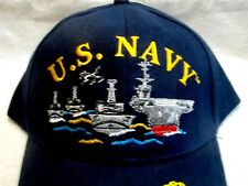 US Navy Ships and a Plane, Black Cotton, High Quality Ball Cap.