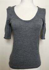 COUNTRY ROAD Grey Extra Fine Australian Merino Wool Short Sleeve Knit Top Small