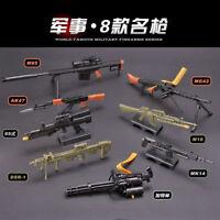 1/6 Scale Gatling Barrett AK47 MG42 Gun Assemble Model Brick Gun Action Figure