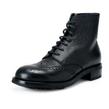Prada Men's 2TE103 Black Textured Leather Ankle Boots Shoes US 12 IT 11 EU 45