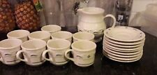Longaberger Pottery Woven Traditions Green Pitcher 8 oz Cup Saucer 9 Piece Set