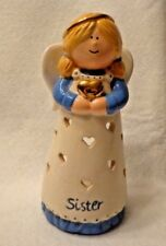 """WAXCESSORIES HEAVENLY HUGS """"SISTER"""" CERAMIC ANGEL TEA LIGHT HOLDER,6 inches TALL"""
