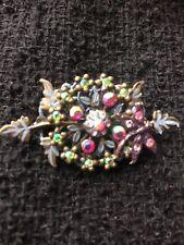Vintage brooch, Pink & Green Stones.
