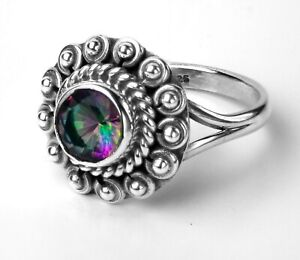 Stylish 925 Sterling Silver Mystic Fire Topaz Facet Cut Gemstone Ring Gift Box