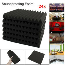 24x Acoustic Foam Wedge Tiles Studio Sound Proofing Room Treatment Absorption