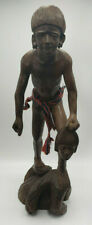Vintage Carved-Wood Tribal Warrior & Headhunter Statue from Indonesia-Excellent