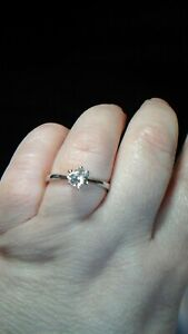 New without tags Silver tone faux diamond Solitaire Ring Size R