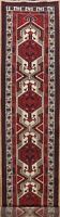 Vintage Geometric Tribal Ardebil Long Runner Rug Handmade Oriental Carpet 3'x15'