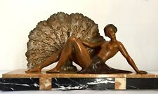 Art Deco Sculpture Statue Nude Lady and Peacock Signed Limousin