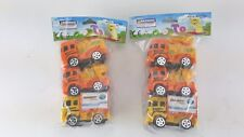 """6 PACK TOY TRUCK LOT BACK HOE CEMENT MIXER CARGO BOX EACH 1-1/2"""" X 2"""" PLAYTIME"""