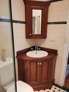 Corner Timber Bathroom Vanity and Matching Shaving Cabinet