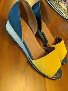Seasalt 2 Part Leather Open Toe Shoes 38 5 Navy Mustard