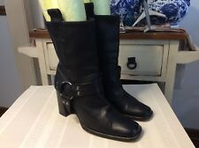 "RANGONI Firenze Black Genuine Italian Leather Mid Calf Boots 8.5 B - 3.5"" Heel"