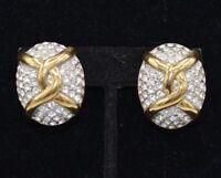 Carolee Signed Clip On Earrings Rhinestone Crystal Statement Vintage Gold Bin8