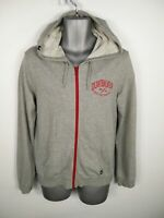 MENS QUICKSILVER GREY/RED ZIP UP LONG SLEEVED HOODED JUMPER HOODIE SIZE S SMALL