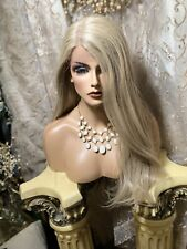 NEW!  BEAUTIFUL, Long, Straight, Ash Blonde, Swiss Lace Front, HH Blend Wig!