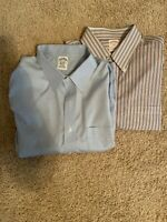 Lot Of 2 BROOKS BROTHERS Men's NON-IRON 17 1/2 X 36 Blue; White Blue & Red XL