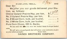 "Fairland Okla. Postcard GAINES BROTHERS ""Prairie Hay"" Price List"" 1912 Cancel"