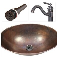 """17"""" Oval Hammered Copper Vessel Bath Vanity Sink, Faucet and Drain Combo"""