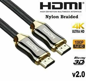 PREMIUM 4K HDMI CABLE 2.0 HIGH SPEED CORD GOLD PLATED BRAIDED LEAD 1080P 3D HDTV