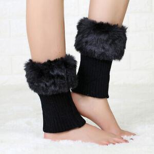 Womens Short Winter Knit Crochet Knitted Leg Warmers Legging Boot Cover CH