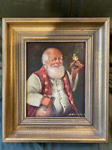 Altes Ölbild Der Weintrinker