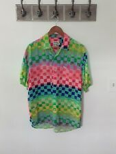 JAMS WORLD Hawaiian Shirt Neon Checker 90s Vintage M Made In USA Color