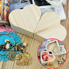 Wooden Crafts Love Heart Shape Jewelry Box DIY Mud Base Toys Art Decor