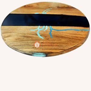 Epoxy Resin Coffee Table Live Edge Walnut Round River Dining Desk Furniture Deco