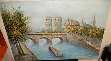WINSTIN FRENCH CANAL SCENE HUGE OIL ON CANVAS CITYSCAPE PAINTING