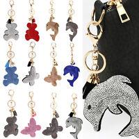 Rhinestone Crystal Keyring Charm Pendant Purse Bag Key Ring Chain Keychain Gift