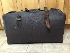 "Antique VTG Doctor Bag Brown Pebbled Cowhide Leather 24x13x8"" Suitcase Luggage"