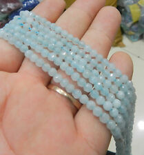 """Natural 4mm Faceted Aquamarine Gems Round Loose Beads 15"""" AAA"""