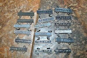 16 Us Ww2 Army Marksmanship qualification Badges clasps some sterling